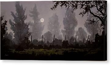 Foggy Start Canvas Print by Douglas  Johnpeer