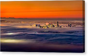 North Vancouver Canvas Print - Foggy Sunrise by Alexis Birkill