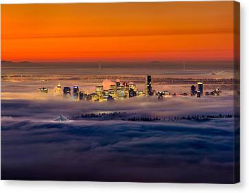 Foggy Sunrise Crop Canvas Print