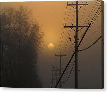 Canvas Print featuring the photograph Foggy Sunrise by Greg Simmons
