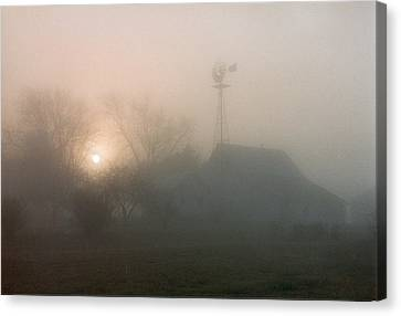 Canvas Print featuring the photograph Foggy Sunrise Over Barn by Peg Toliver