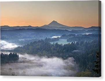 Canvas Print featuring the photograph Foggy Sunrise Over Sandy River And Mount Hood by JPLDesigns