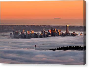 North Vancouver Canvas Print - Foggy Sunset Crop by Alexis Birkill