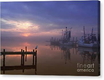 Shrimp Boat Canvas Print - Foggy Sunset Over Swansboro by Benanne Stiens