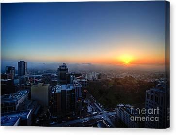 Foggy Sunset Canvas Print