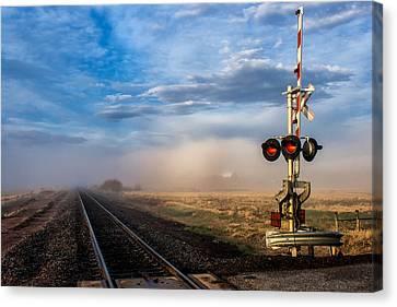 Foggy Train Tracks Canvas Print