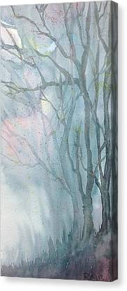 Foggy Trees Canvas Print by Rebecca Davis