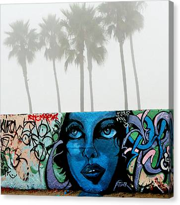Foggy Venice Beach Canvas Print by Art Block Collections