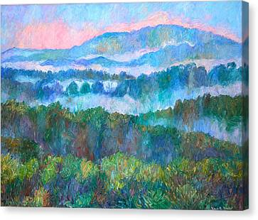 Foggy View From Mill Mountain Canvas Print by Kendall Kessler
