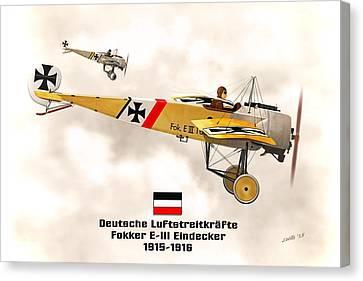 Fokker Eindecker E3 Ww1 Fighter Canvas Print by John Wills