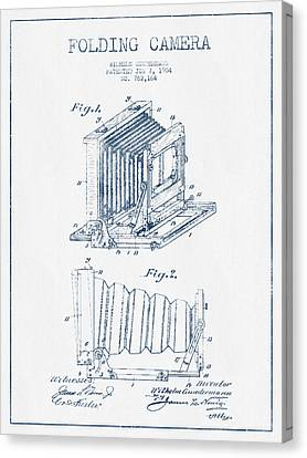 Folding Camera Patent Drawing From 1904 - Blue Ink Canvas Print by Aged Pixel