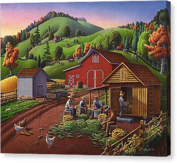 Folk Art Americana - Farmers Shucking Harvesting Corn Farm Landscape - Autumn Rural Country Harvest  Canvas Print by Walt Curlee