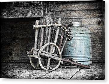 Wagon Wheels Canvas Print - Folk Art Cart Still Life by Tom Mc Nemar