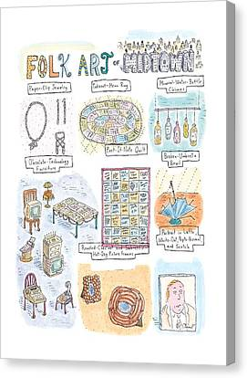 'folk Art Of Midtown' Canvas Print by Roz Chast