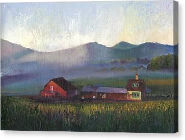 Folk School Barn At Dawn Canvas Print by William Killen
