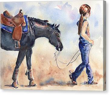 Closely Canvas Print - Black Horse And Cowgirl Follow Closely by Maria's Watercolor