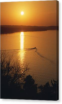 Boat Canvas Print - Follow Me Home - Lake Geneva Wisconsin by Bruce Thompson