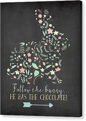 Easter Bunny Canvas Print - Follow The Bunny by Jo Moulton