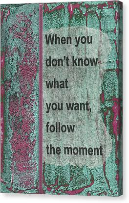 Follow The Moment Canvas Print by Gillian Pearce