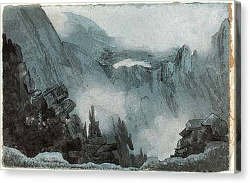 Follower Of John Sell Cotman, Mountain Scene With Rocks Canvas Print by Litz Collection
