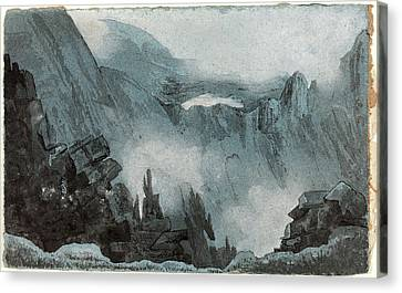 Follower Of John Sell Cotman, Mountain Scene With Rocks Canvas Print by Quint Lox