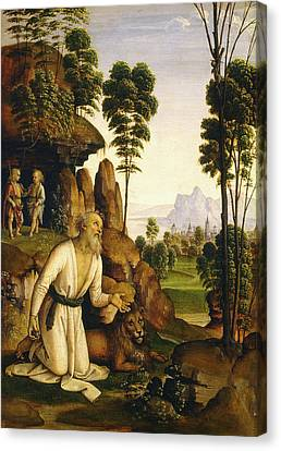 Follower Of Pietro Perugino, Saint Jerome In The Wilderness Canvas Print