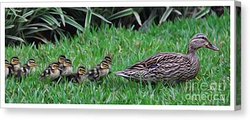 Mother Goose Canvas Print - Following Mommy by Lee Dos Santos