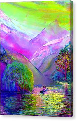 Weeping Willow Canvas Print -  Love Is Following The Flow Together by Jane Small
