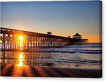 Folly Beach Pier At Sunrise Canvas Print by Lynne Jenkins