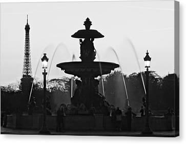 Fontaine De La Concorde Silhouette - Paris Canvas Print by Barry O Carroll