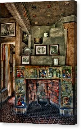 Fonthill Castle Bedroom Fireplace Canvas Print by Susan Candelario