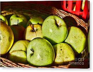 Food - A Basket Of Apples Canvas Print by Paul Ward