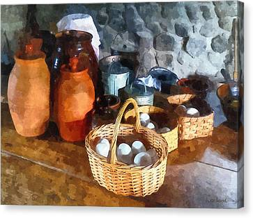 Food - Baskets Of Eggs Canvas Print by Susan Savad