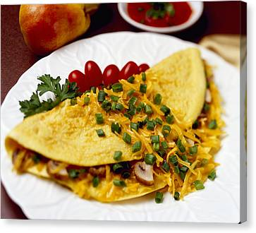 Food - Cheese And Mushroom Omelette Canvas Print by Ed Young