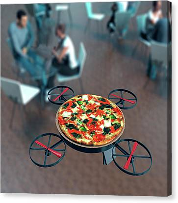 Food Delivery Drone Canvas Print by Christian Darkin