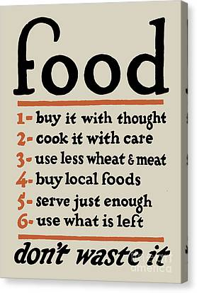 Food - Don't Waste It Canvas Print by God and Country Prints