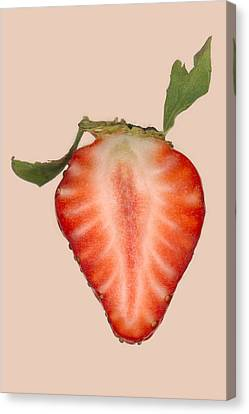 Food - Fruit - Slice Of Strawberry Canvas Print by Mike Savad