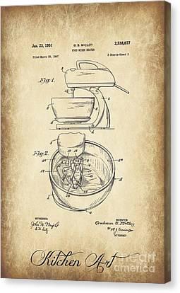 Food Mixer Patent Kitchen Art Canvas Print