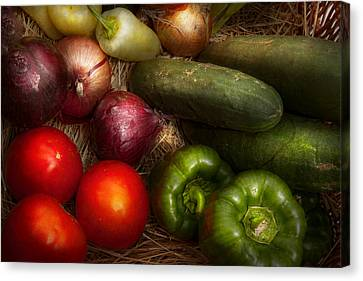 Food - Vegetables - Onions Tomatoes Peppers And Cucumbers Canvas Print by Mike Savad