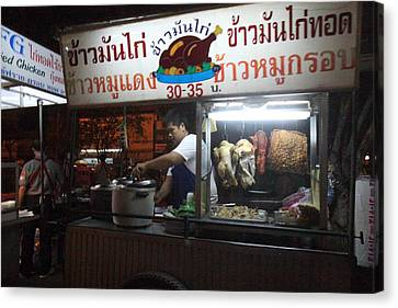 Food Vendors - Night Street Market - Chiang Mai Thailand - 01133 Canvas Print by DC Photographer