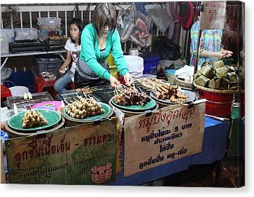 Food Vendors - Night Street Market - Chiang Mai Thailand - 01134 Canvas Print by DC Photographer