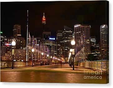 Lamp Post Canvas Print - Foot Bridge By Night by Kaye Menner