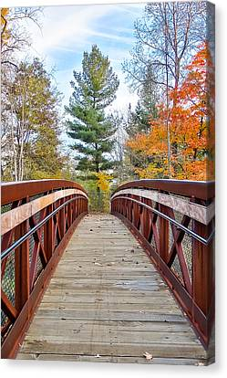 Canvas Print featuring the photograph Foot Bridge In Fall by Lars Lentz