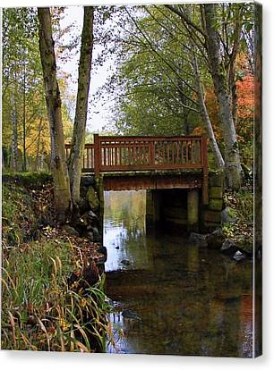 Canvas Print featuring the photograph Foot Bridge by Ron Roberts