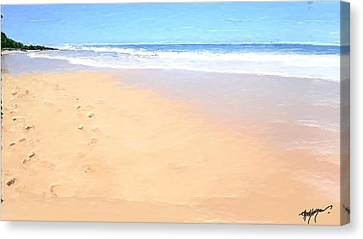 Beach Canvas Print - Foot Prints On The Beach by Anthony Fishburne
