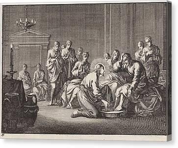 Foot Washing, Jan Luyken, Pieter Mortier Canvas Print