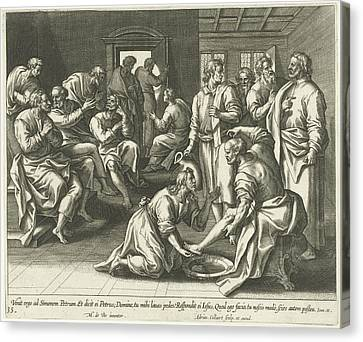 Foot Washing Of Peter, Adriaen Collaert Canvas Print