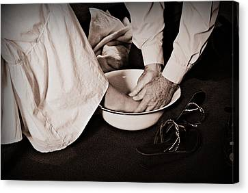 Foot Washing Canvas Print by Stephanie Grooms