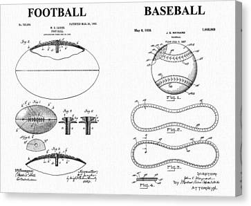 Football Baseball Patent Canvas Print by Dan Sproul