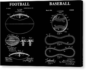 Football Baseball Patent Drawing Canvas Print by Dan Sproul